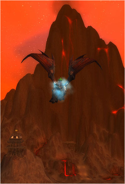 Ringo, flying on Rusty, looking at Blackrock Mountain