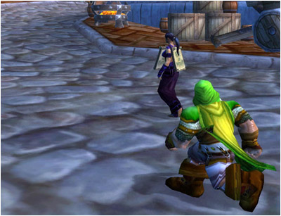 Ringo chasing a cultist through the Dwarven District of Stormwind