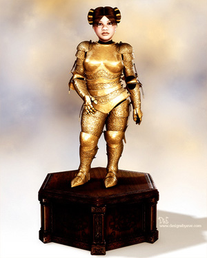 Statue of Beli in gold armor