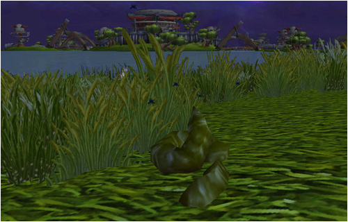 Steaming poop on the shores of Skysong Lake in Nagrand
