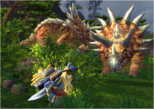 Ringo and a direhorn on the Isle of Giants