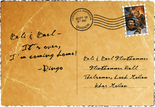 Ringo's postcard home