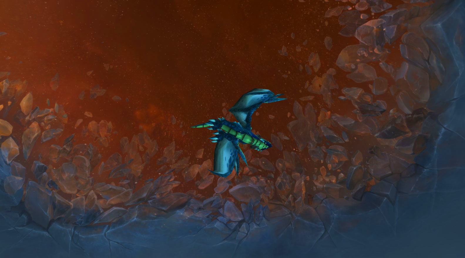 A blue dragon (Rusty) flying against a sky torn open, exposing the Shadowlands beyond.
