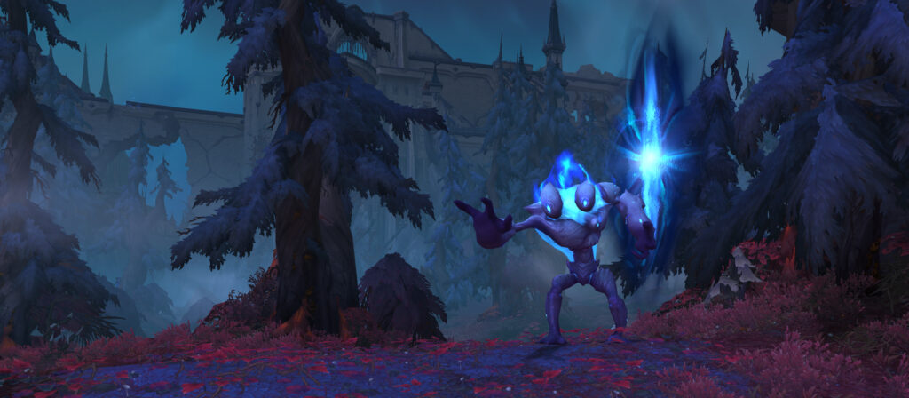 A strange blue two-headed creature standing by a portal in the wilds of Revendreth.