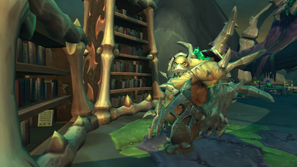 The Professor, an abomination, looks at the viewer while standing next to some bookshelves.